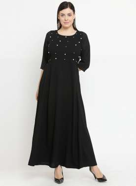 plusS Women Black Embellished Maxi Dress