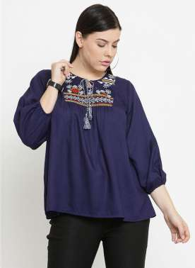 plusS Women Navy Blue Printed Boxy Top