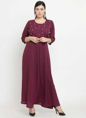 plusS Women Burgundy Embellished Maxi Dress