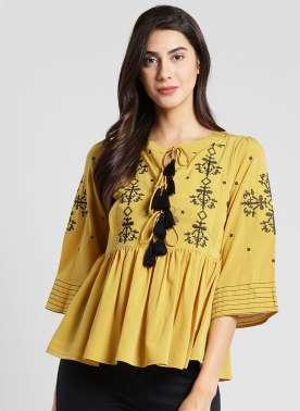 plusS Women Mustard Printed A-Line Top