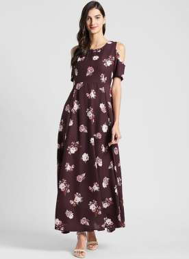 plusS Women Coffee Brown Floral Print Maxi Dress