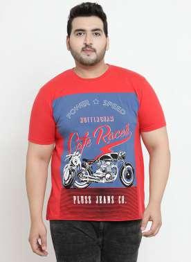 plusS Men Red Printed Round Neck T-shirt