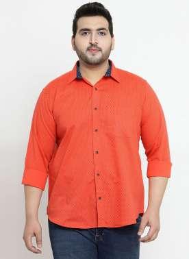 plusS Men Orange Regular Fit Printed Casual Shirt