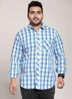 plusS Men Blue & White Regular Fit Checked Casual Shirt