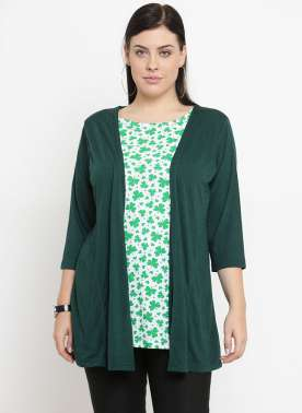 plusS Women Green Solid Open Front Shrug