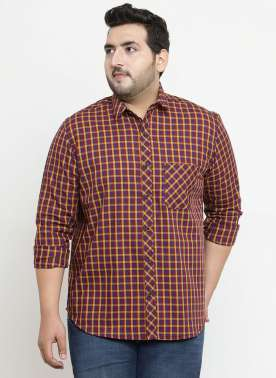 plusS Men Red & Yellow Regular Fit Checked Casual Shirt