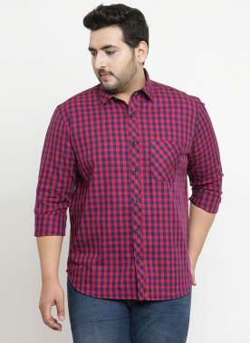 plusS Men Red & Navy Blue Checked Casual Shirt