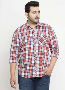 plusS Men White & Red Regular Fit Checked Casual Shirt