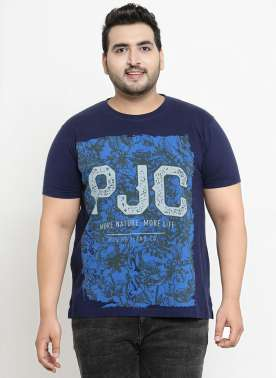 plusS Men Navy Blue Printed Round Neck T-shirt