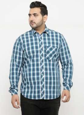 plusS Men Blue Comfort Regular Fit Checked Casual Shirt