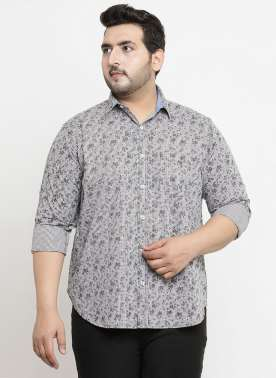 plusS Men Grey & White Regular Fit Printed Casual Shirt