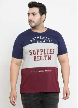 plusS Men Blue Colourblocked Round Neck T-shirt