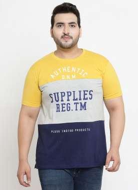 plusS Men Yellow Colourblocked Round Neck T-shirt