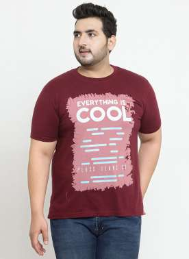 plusS Men Maroon Printed Round Neck T-shirt