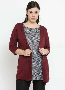 plusS Women Maroon Solid Open Front Shrug