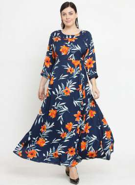 plusS Women Navy Blue Printed Maxi Dress