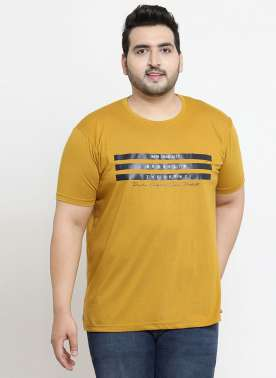 plusS Men Mustard Printed Round Neck T-shirt