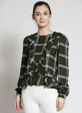 plusS Women Olive Green Checked Peplum Top