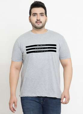 plusS Men Grey Printed Round Neck T-shirt