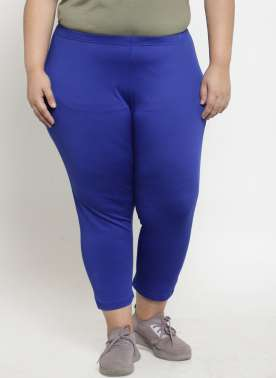 plusS Women R.Blue Regular Fit Capris