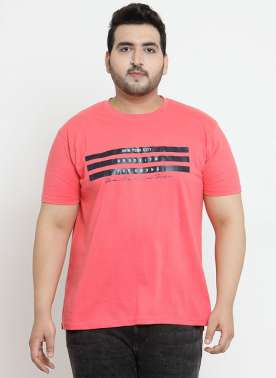 plusS Men Coral Printed Round Neck T-shirt