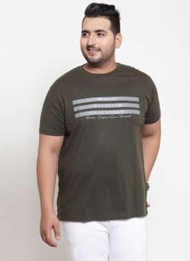 plusS Men Green Printed Round Neck T-shirt