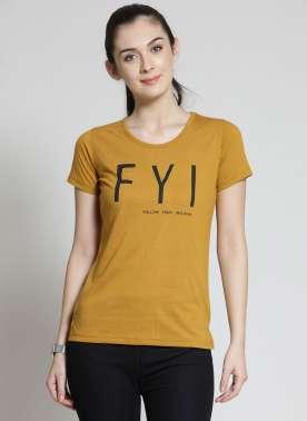 plusS Women Mustard Yellow Printed Round Ne1k T-shirt