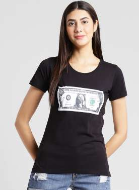 plusS Women Black Printed Round Neck T-shirt