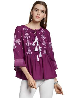 plusS Women Fuchsia Self Design Peplum Top