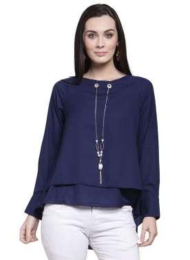 plusS Women Blue Solid Tiered Top
