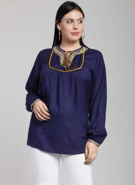Women Navy Blue Solid A-Line Top