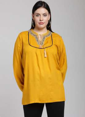 Women Yellow Solid A-Line Top