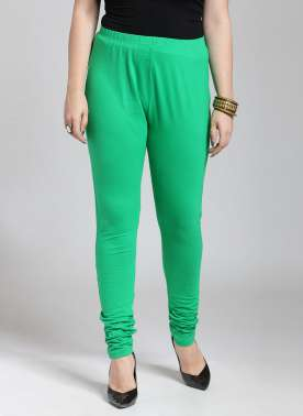 Women Green Churidar-Length Leggings