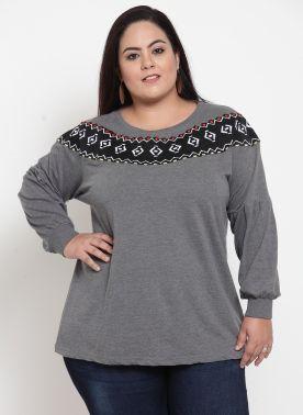 Women Charcoal Grey & Black Embroidered Sweatshirt