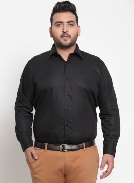 plusS Men Black Formal Shirt