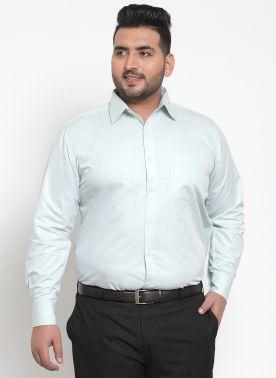 plusS Men Green Comfort Regular Fit Solid Casual Shirt