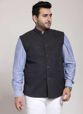 PlusS Mens Anthra Solid Regular FIt Waistcoat