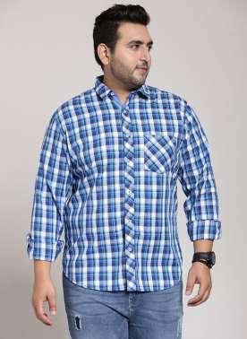 plusS Men Blue & White Regular Fit Checked Casual Shirt