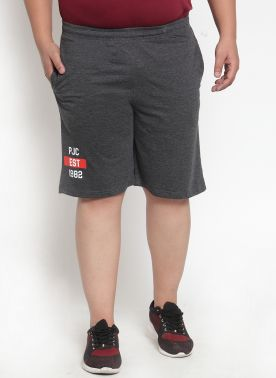 PlusS Mens Grey Regular Fit Shorts
