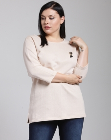 plusS Women Peach-Coloured Self Design Blouson Top