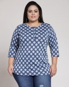 plusS Women Navy Printed Round Neck T-shirt