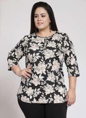 plusS Women Black Printed Round Neck T-shirt