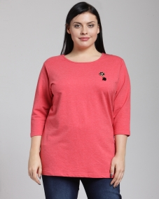 PlusS Woman Pink Solid 3/4th Sleeve T-Shirt