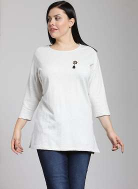 PlusS Woman Cream Solid 3/4th Sleeve T-Shirt