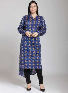 Long High Low Kurti with 3/4th Sleeve