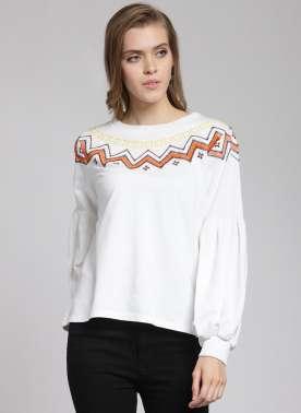 plusS Women Off-White & Orange Embroidered Sweatshirt