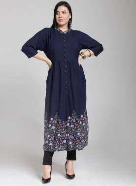plusS Women Navy Blue & Cream-Coloured Printed A-Line Kurta