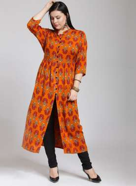 LONG KURTI WITH FRONT PLACKET AND FLORAL PRINT