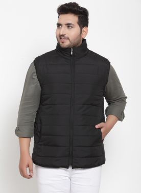 plusS Men Black Solid Quilted Jacket