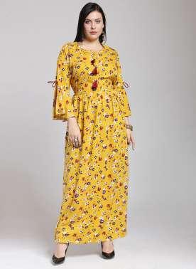 plusS Women Yellow Printed A-Line Kurta